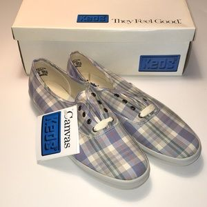 Keds Blue Plaid Canvas Sneakers NWT